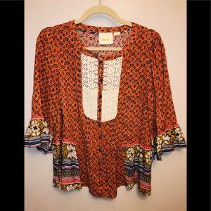 EUC Anthropologie Maeve 3/4 Sleeve Blouse Size 8